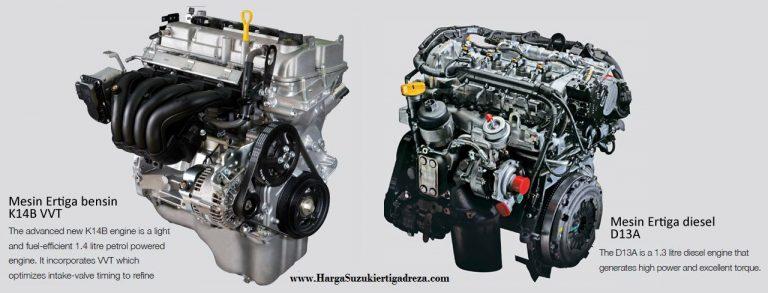 Mesin Suzuki Ertiga bensin dan Diesel - Perbedaan Suzuki Ertiga Diesel dengan Suzuki Ertiga Bensin