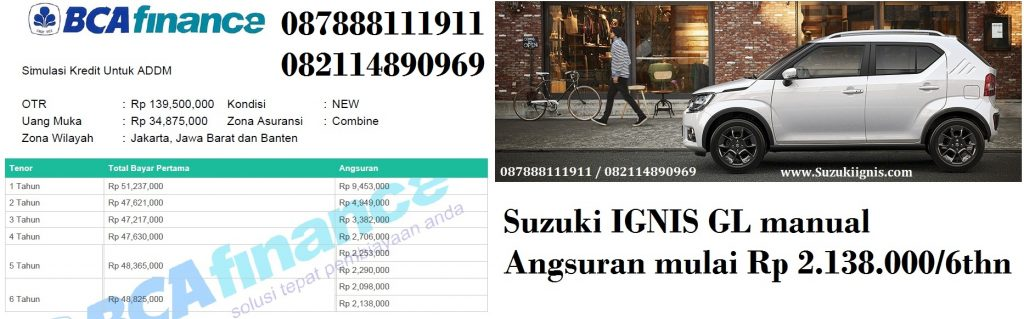 Suzuki IGNIS tipe GL manual kombinasi bca finance 1024x319 - Promo Suzuki IGNIS Angsuran 2 Juta an atau Dp Ringan