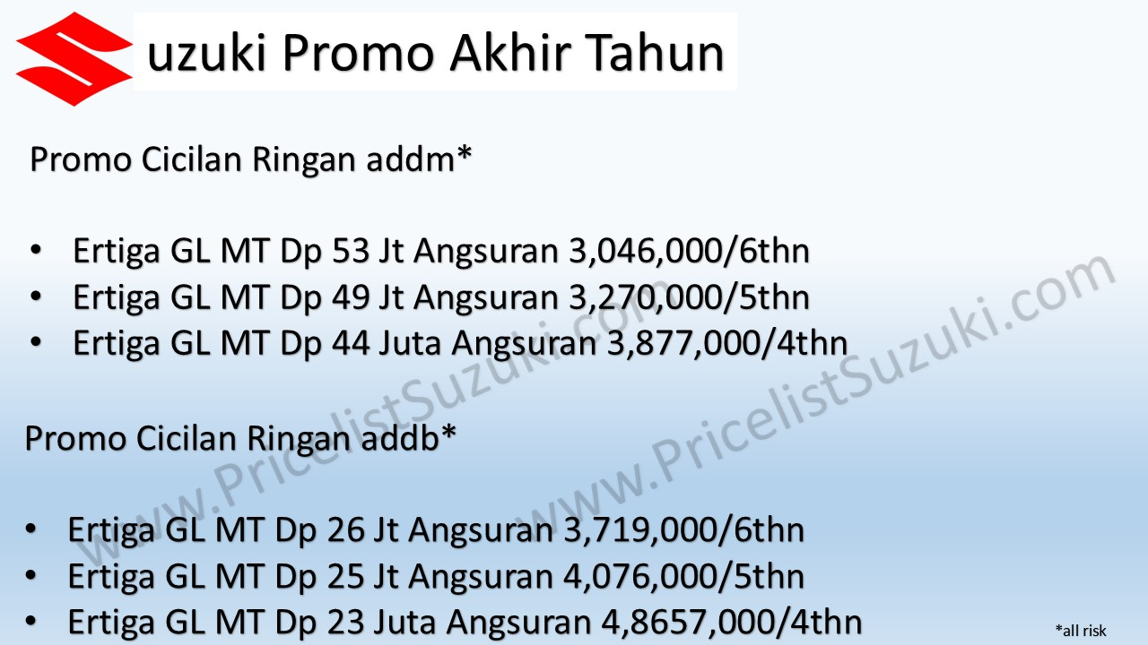 promo ertiga pricelist suzuki kombinasi 1 - Promo Kredit Suzuki Ertiga GL MT & AT