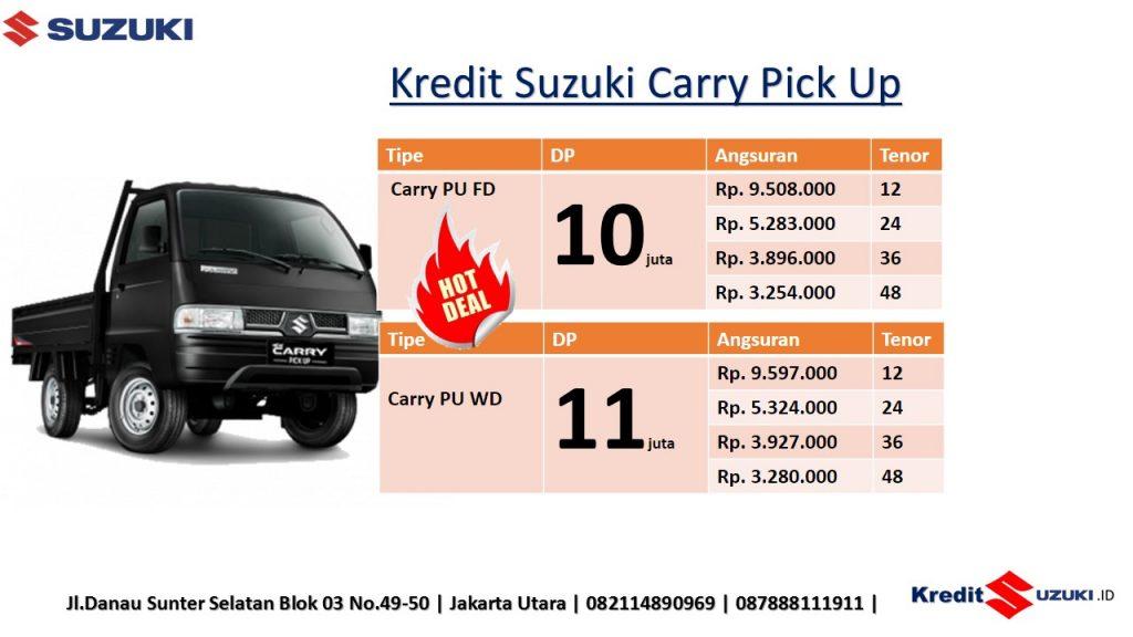 Suzuki Carry Pick Up kini hadir dengan tampilan baru yang lebih segar dan semakin tangguh. Kemampuannya dalam menjelajahi berbagai macam medan menjadi inspirasi untuk tampilan Suzuki New Carry Pick Up yang lebih tangguh dari sebelumnya. Sebagai sebuah Gear yang irit dan dapat diandalkan sejak tahun 1980-an, dari generasi ke generasi, menjadikan Suzuki New Carry Pick Up, Gear untuk sukses Anda dalam setiap usaha. Ditambah lagi dengan dukungan jaringan 311 outlet di seluruh Indonesia, serta layanan servis 24 jam, berikan keamanan dan kenyamanan dalam menjalankan usaha.