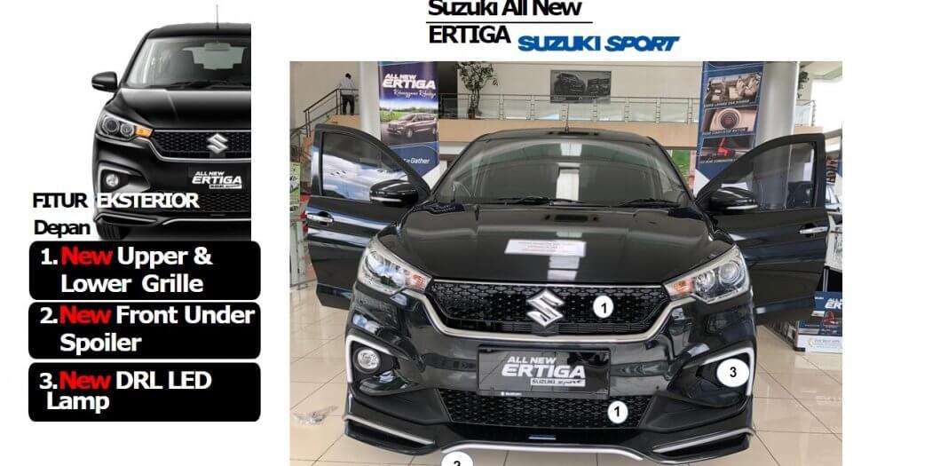 Fitur Exterior Terbaru Ertiga Sport 2019 tampak Depan 1050x525 - 13 Fitur Terbaru Suzuki Ertiga Sport 2019