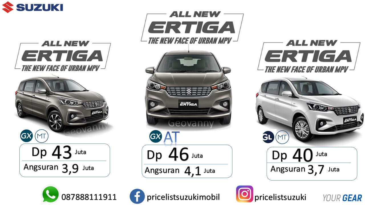 Promo Showroom Event Suzuki Mobil All New Ertiga GX Manual Gx AT GL Manual 2019 - Harga,Fitur & Spekfikasi Suzuki All New Ertiga 2019